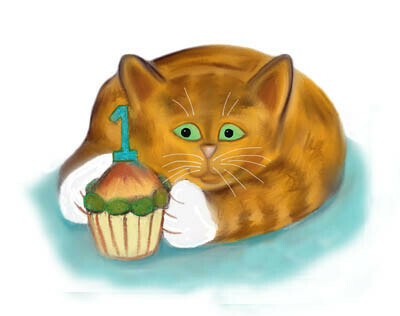 Image result for happy 1st birthday cat