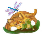 kitten_hugs_a_frog_as_dragonfly_buzzes.w